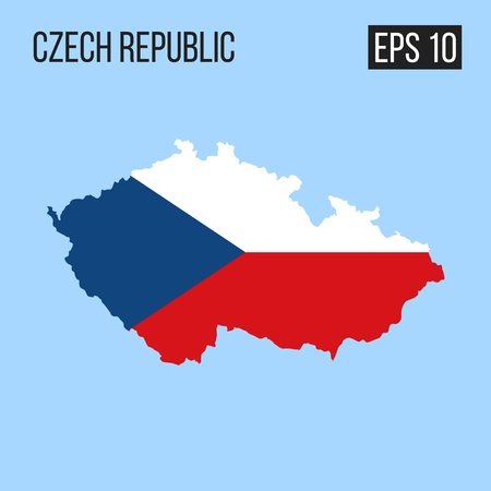 Czech republic map border with flag vector EPS10
