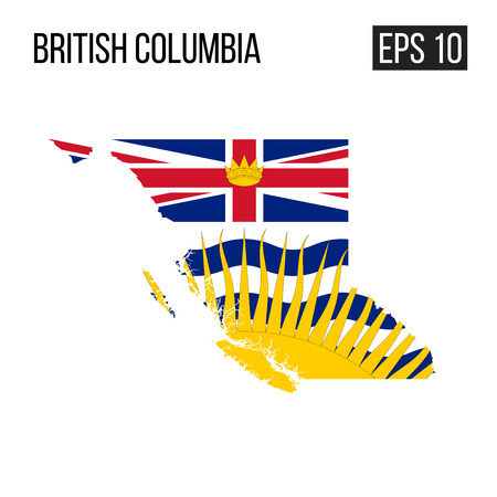 British Columbia map border with flag vector EPS10