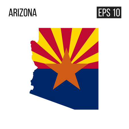 Arizona map border with flag vector EPS10
