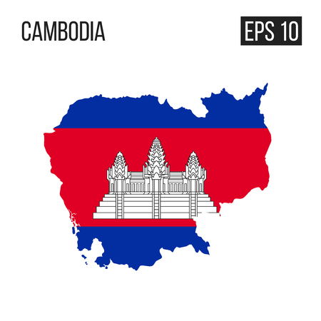 Cambodia map border with flag vector EPS10