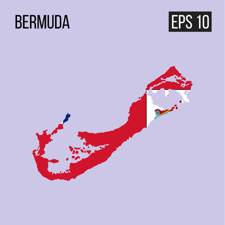 Bermuda map border with flag vector EPS10
