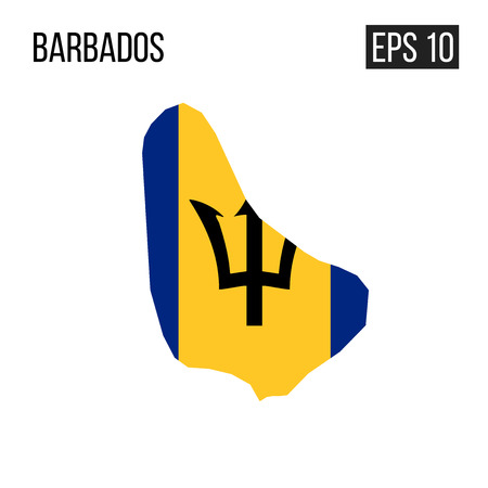 Barbados map border with flag vector EPS10