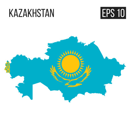Kazakhstan map border with flag vector EPS10