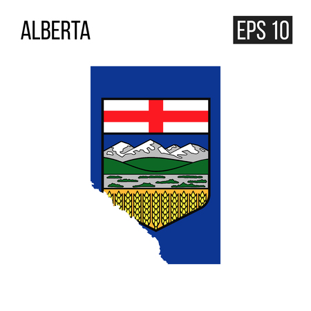 Alberta map border with flag vector EPS10  イラスト・ベクター素材