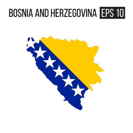 Bosnia and Herzegovina map border with flag vector EPS10 Illustration