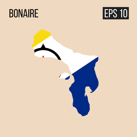 Bonaire map border with flag vector EPS10