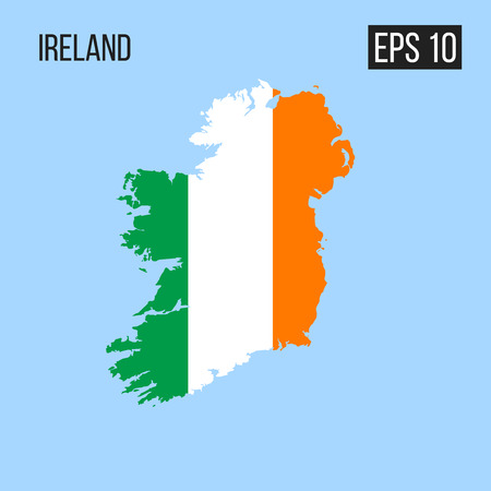 Ireland map border with flag vector EPS10 Vettoriali