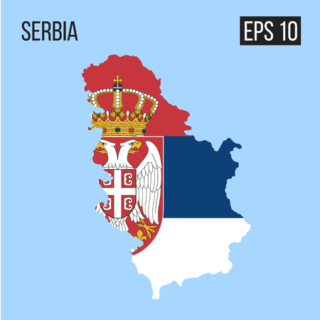Serbia map border with flag illustration. Illusztráció