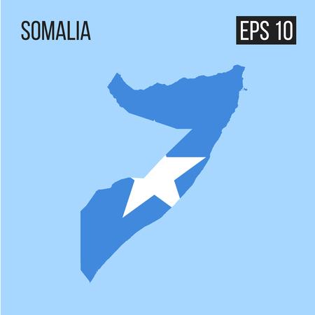 Somalia map border with flag