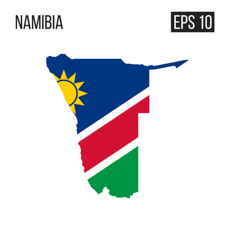 Namibia map border with flag