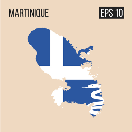 Martinique map border with flag vector Illustration