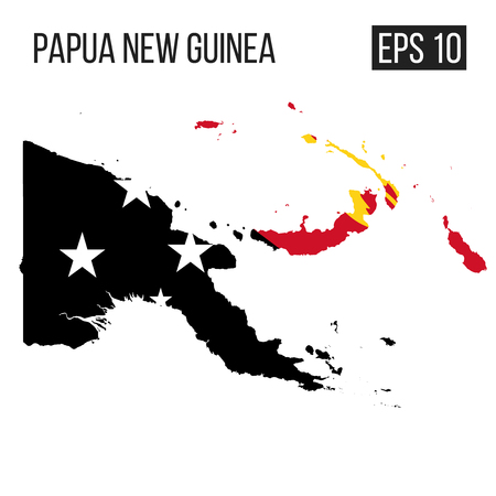 Papua New Guinea map border with flag