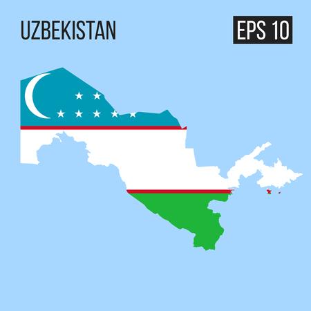 Uzbekistan map border with flag vector