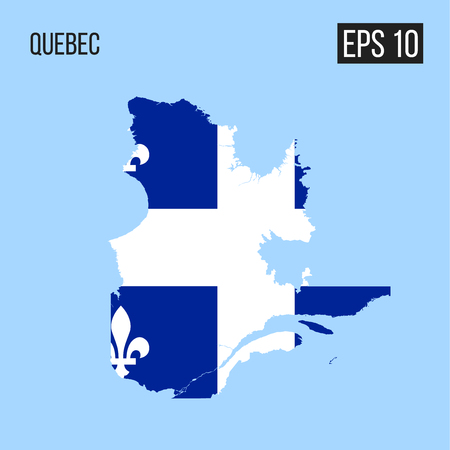 Quebec map border with flag 矢量图像
