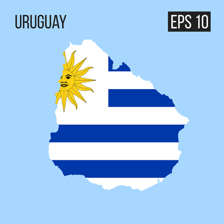 Uruguay map border with flag vector
