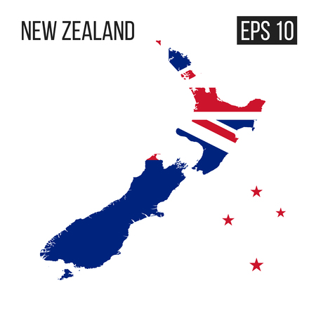 New Zealand map border with flag