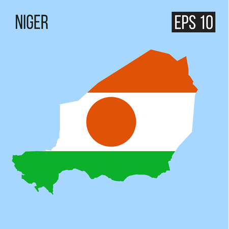 Niger map border with flag vector Illustration