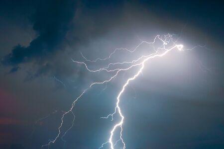 lightnings and thunder bold strike at summer storm