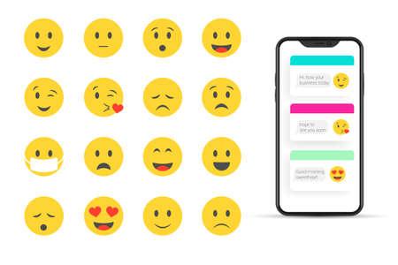 Flat Design Vector Emoji Set for Social Network Isolated on White Background 矢量图像