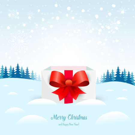 Christmas box with trees and snow on background. Vector illustration. For wallpaper, flyers, invitation, posters, brochure, banners. 矢量图像