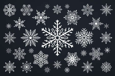 Set of snowflakes. Merry christmas and happy new year theme.