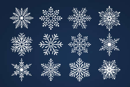 Set of snoflakes. Merry christmas and happy new year theme.