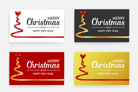 Gift card. Christmas tree by red ribbons