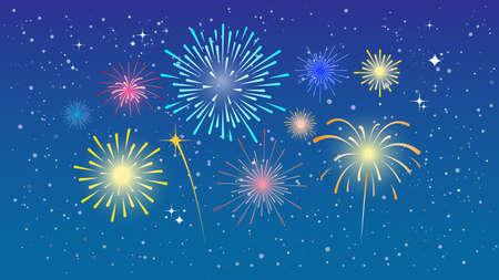 Colorful fireworks on blue sky. Festival of fireworks. Vector illustration