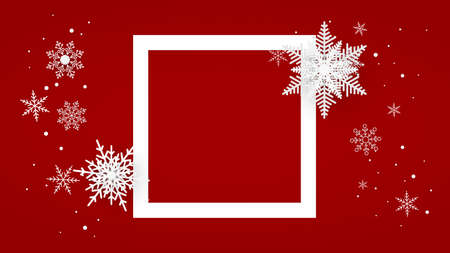 Christmas red postcard with square and snowflakes on background. Vector illustration. 矢量图像