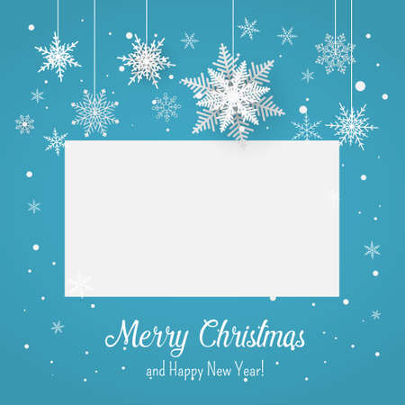 Christmas blue postcard with snowflakes on background. Vector illustration. 矢量图像