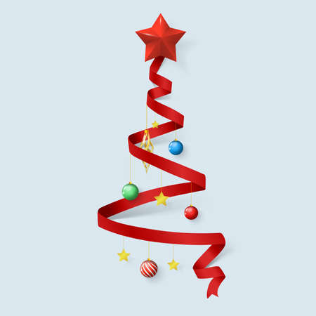 Christmas tree by red ribbons. Merry christmas elements