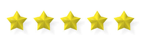 Five stars rating. Gold color with shadows 矢量图像