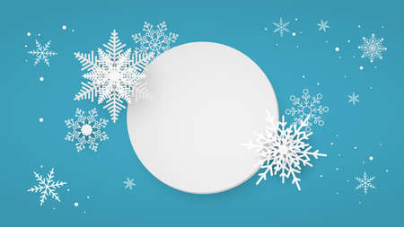 Paper white circle with snowflakes on blue background