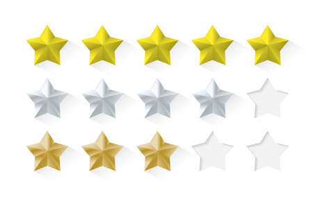 Set of stars rating. Gold with shadow 矢量图像