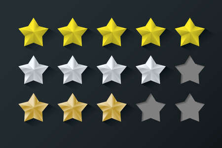 Set of stars rating. Gold color with shadows 矢量图像