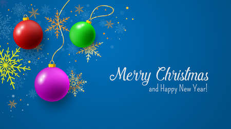 Christmas blue postcard with christmas ball and snowflakes on background