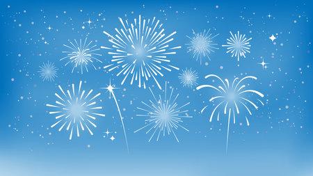 White fireworks on blue sky. Festival of fireworks. Vector illustration