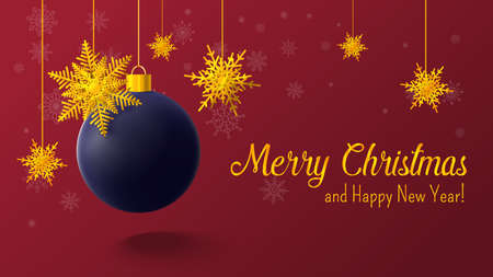 Christmas red postcard with christmas ball and snowflakes on background. Vector illustration.