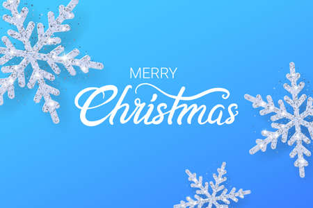 Snowflakes with Glitter texture. Merry christmas background