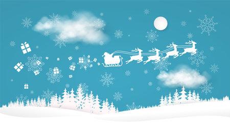 Santa and reindeer team. Paper style christmas landscape 免版税图像