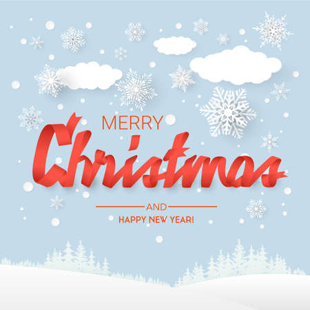 Paper style, snowflakes and clouds. Merry christmas background