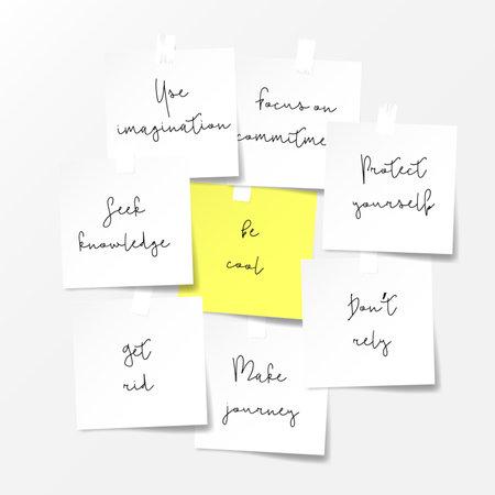 Paper notes. Motivations notes concept. Vector template 免版税图像