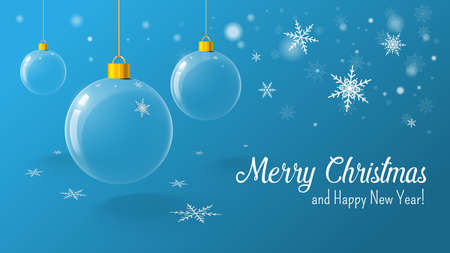 Christmas blue postcard with christmas ball and snowflakes on background. Vector illustration.