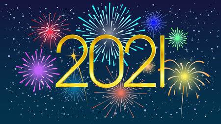 2021 Colorful fireworks on dark sky. Festival of fireworks. Vector illustration 免版税图像