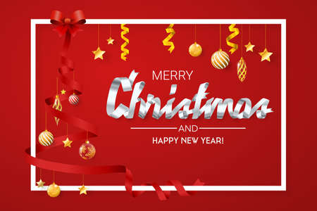 Ribbon style, christmas tree with ribbons. Merry christmas background