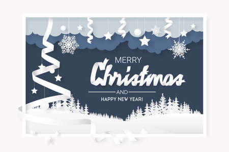 Paper style, snowflakes and ribbons. Merry christmas background