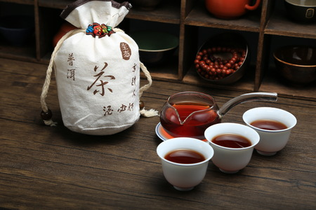 Chinese tea set close up view on wooden background