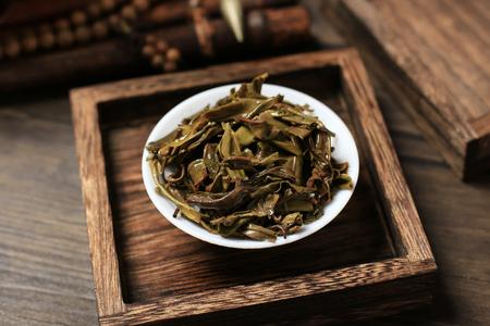 Soaked tea leaves on a plate Reklamní fotografie