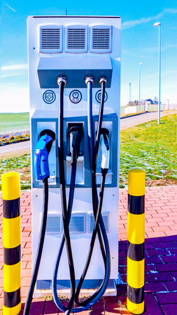 Charging station for electric cars. Power service station. Street charging of electric cars