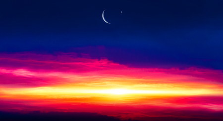 New moon. Prayer time. Generous Ramadan. Mubarak background.